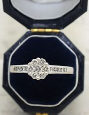 9CT WHITE GOLD DIAMOND CLUSTER RING SIZE P, ENGAGEMENT, HALLMARKED 0.5 CT DIA 9K