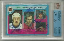 1979-80 Hockey Assist Leaders # 2 Signed By Trottier, LaFleur, Dionne + JSA Cert