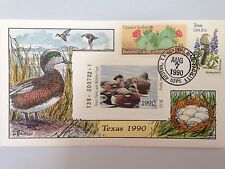 COLLINS HAND PAINTED FDC 1990 TEXAS MILFORD DUCK RARE