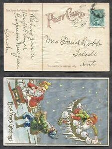 p1780 - NEWBLISS Ontario Leeds 1908 Split Ring on New Year's Postcard. Gnomes