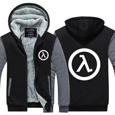 Men's Half-Life Hoodie Gamers Fleece Hooded Coat Winter Zipper Jacket Sweatshirt