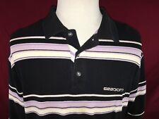 Sean John Black Striped Golf Polo Shirt Men's Large 100% Cotton