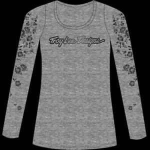 Troy Lee Designs 2020 Women's Signature T-Shirt Floral Gray All Sizes
