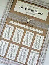 A3 kraft framed hessian bow design wedding table plan / seating plan diamante