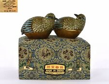 2 Vintage Chinese Gilt Sterling Silver Enamel Filigree Quail Bird Box MK Beijing