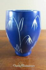 Bo Fajans Sweden Blue and White Pottery Vase Sgraffito Flowers/Weeds