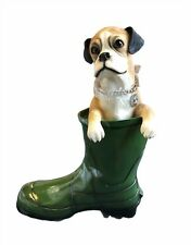 More details for large tan boxer dog statue in wellie by leonardo collection boxer dog ornament