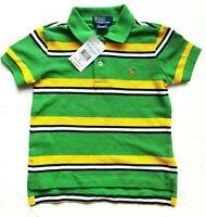 RALPH LAUREN Boys Polo Shirt Striped Cotton Mesh Casual Yellow Top 2 y £51