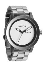 Nixon the spur reloj pulsera sanded Steel Day & date whitedialbraceletwatch a263-1166