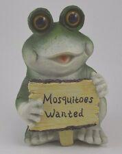 "New listing Rustic Outdoor Indoor Garden Green Frog Mosquitoes Wanted Sign Resin 7""h"