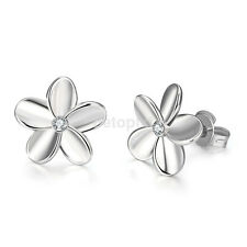 Fashion Womens Wedding Engagement Jewelry White Gold Plated Flower Stud Earrings