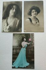 569 ** Lot of 3 Vintage Postcards Beautiful Women, Gibson Girl, Gerlach, other
