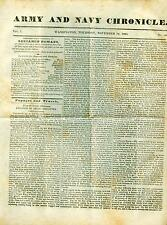 Newspaper Army & Navy Chronicle Arctic Discovery Pawnee Platte Buffalo Hunt 1835