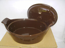 Chocolate Brown Oval Casserole with Lid Longaberger New