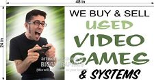 2' X 4' VINYL BANNER WE BUY AND SELL USED VIDEO GAMES AND SYSTEMS HORIZONTAL NEW