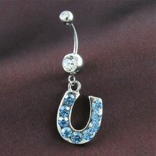 Light Sky Blue Lucky Horseshoe Dangle Belly Button Naval Rings Body Jewelry 14G