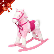 Wooden Rocking Horse Kids Gift Cute Walking Ride On Baby Toy w/Neigh Sound Pink