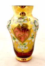VINTAGE BOHEMIANCZECH CRYSTAL FLOWER VASE GOLD GILDED FLORAL HAND MADE 6'' .