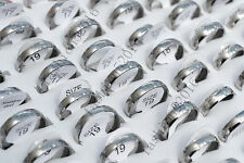 Wholesale Lots 12ps 4mm Silver Arc Mixed Pattern Stainless Steel Rings FREE