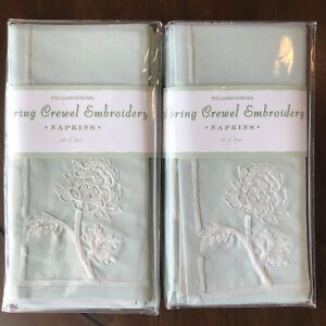 Lot of 2 Sets of 4 Green WILLIAMS SONOMA Spring Crewel Embroidered Napkins New