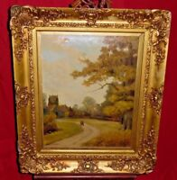 Antique Painting On Canvas - Landscape & Walking Path - Claude Hayes - Sm Tear