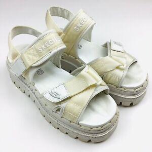 Skechers Women's 6 River Jammers Tough Platform Shoes Sandals White Vintage 90s