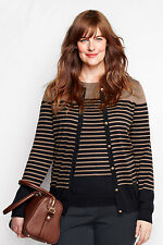 Lands' End 100% Cotton Cardigan Striped Black Color-Block Sweater Top 3X 24W-26W