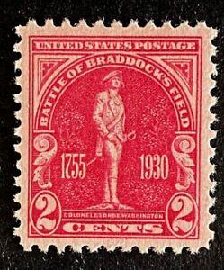 US Stamps, Scott #688 2c Battle of Braddock's Field XF M/NH. Gorgeous.