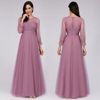 Ever-Pretty Girls Long Formal Prom Dresses 3/4 Sleeves Bridesmaid Dress 07663