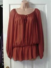 BROWN LONG  SLEEVED BLOUSE, SIZE 12