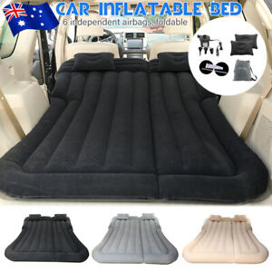 AU Black Inflatable Car Back Seat Mattress Air Bed Travel Rest Sleep Camping SUV