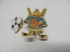 Two Pin Back Lapel Badges -Old Timers Wife Hockey- Ontario Trillium