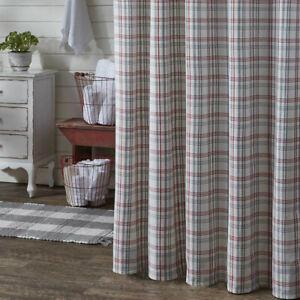 FARM YARD Shower Curtain Red/Gray Plaid Farmhouse Country Cottage Park Designs