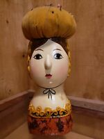 Vintage Chalkware Figurine Pin Cushion- Japan Hand Painted Female Bust