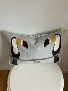"""SCION FABRIC """"TERRY TOUCAN"""" PIPED CUSHION COVER PUTTY/CHARCOAL/HONEY 19""""x12"""""""