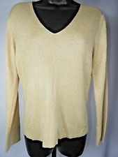 New York & Company Women's Gold Sparkle V-Neck Sweater Size Medium