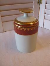 Limoges France Ouragan Paris Lidded Storage Toilette Jar Burgundy/Gold