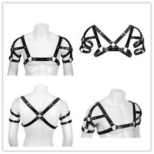 Men Adjustable Chest Strap Harness Clubwear Gay Costume Fancy Dress Faux Leather