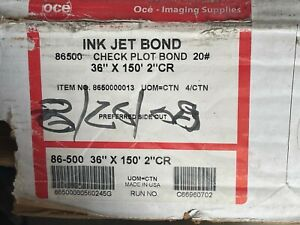 "3 - Oce 86500 Check Plot Bond Paper 20# 36"" x 150' 2"" CR 8650000013"