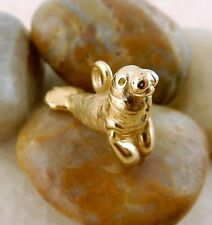 22k gold plated 3D Manatee charm