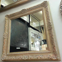 Antique Cream/Gold Ornate Vintage Design French Wall Mirror 115x115cm New