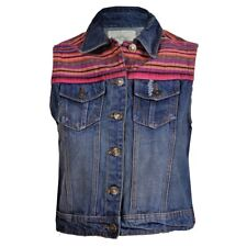 Women's Denim Brave Soul Gilet Distressed With Ethnic Patch UK 14 - New With Tag