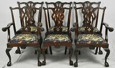 Set of 6 Feldenkrais Mahogany Chippendale Style Dining Chairs Claw and Ball