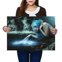 A2   Blue Magic Witch Gothic Fantasy Size A2 Poster Print Photo Art Gift #14095