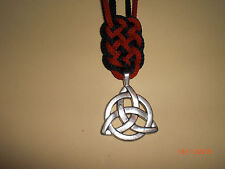 Triquetra and Prosperity Knot Necklace Black Red & Silver with Upcycled Gift Box