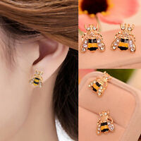 Lovely Rhinestone Bumble Bee Crystal Animal Ear Stud Earrings Jewelry Gift
