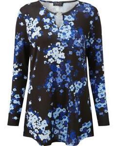 GRACE Black/Blue Floral Tunic Sizes 12 & 14
