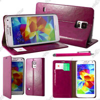 Housse Etui Coque Portefeuille PU Cuir Rose Samsung Galaxy S5 et S5 New+ Stylet