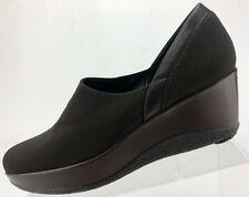Stuart Weitzman Wedge Clogs Brown Slip On Casual Comfort Platform Shoes Womens 8