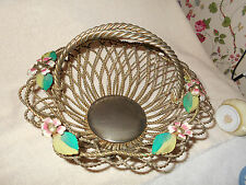 Victorian Style Bride Basket Hand Painted Enamel Flowers Handle Silver Plated~